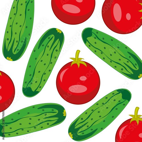Ripe vegetables tomatoes and cucumber decorative pattern
