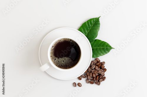 Coffee cup with beans and leaf on white bright background. 3d rendering  © aanbetta