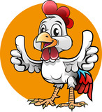 Vector illustration, cute a chicken showing two thumbs up for symbol or mascot fried chicken restaurant. - 248402454