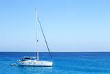 White yacht n the sea. Vacation, holiday background. Sea trip concept. - 248405047