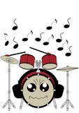 Lustiges Schlagzeug im Kawaii Stil mit Kopfhörern. Vektor Datei EPS 10. - 248410699