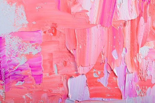 Abstraction art oil paints trendy color Pink  Living Coral  canvas painting grunge color background. - 248416404