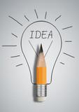 Creative idea concept, pencil with drawn bulb, copy space