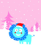 cute lion merry christmas greeting card vector