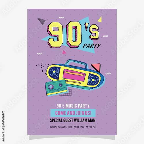 90s Party Memphis poster, card or invitation template