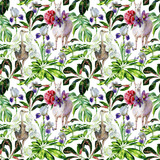 Watercolor seamless tropical pattern of  alpaca, ostrich and cartoon llama with pasque-flower, peony, orchid. Exotic leaves of schefflera, croton, monstera. Use as wallpaper, wrapping paper.