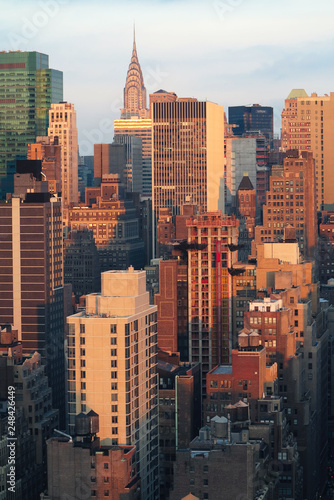 Aerial and panorama view of skyscrapers of  New York City, Manhattan.  Top view of night midtown of Manhattan.