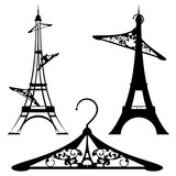 eiffel tower and clothes hangers - french fashion black vector silhouette design set