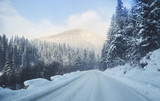 road in the snowy mountains