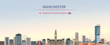 Vector illustration of Manchester city skyline on colorful gradient beautiful day sky background with flags of  England and United Kingdom - 248435224