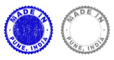 Grunge MADE IN PUNE, INDIA stamp seals isolated on a white background. Rosette seals with grunge texture in blue and gray colors. Vector rubber stamp imitation of MADE IN PUNE,