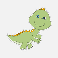 Pretty and happy dinosaur baby isolated on a white background.