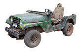 old broken green army jeep, white background, isolated