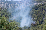 Helicopters and planes extinguish a forest fire in Turkey