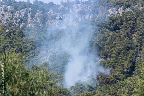 Helicopters and planes extinguish a forest fire in Turkey - 248457279