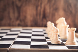 Chess figures. Intelligence game. Competition strategy concept