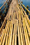brown bamboo bridge in the river