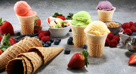 Set of ice cream scoops of different colors and flavours