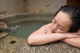 relaxed at hot spring pool - 248481855