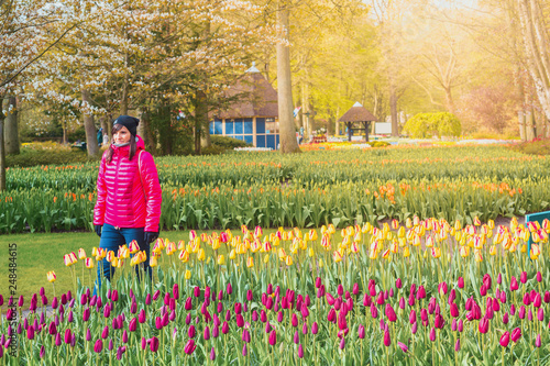 Foto Murales Keukenhof Gardens, flowers and tulips. Netherlands