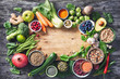 Leinwanddruck Bild - Healthy food selection with fruits, vegetables, seeds, super foods, cereals
