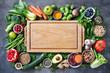 Leinwanddruck Bild - Healthy food selection with fruits, vegetables, seeds, super foods, cereals