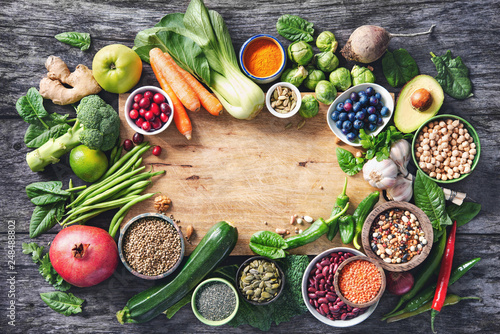 Leinwanddruck Bild Healthy food selection with fruits, vegetables, seeds, super foods, cereals