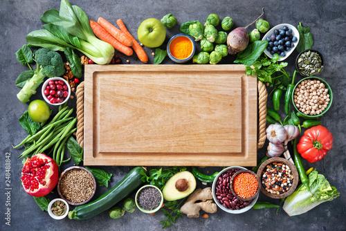 Leinwanddruck Bild Healthy food selection with fruits, vegetables, seeds, super foods, cereals