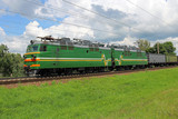 electric locomotive with freight train