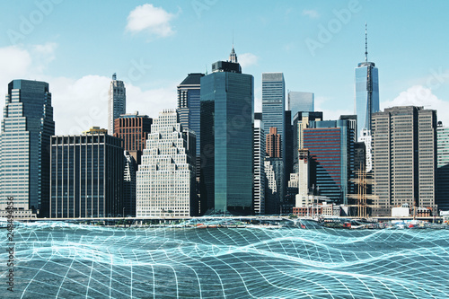 City background with grid - 248494856