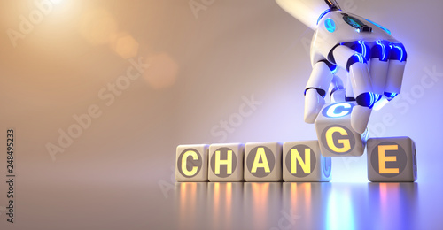 Leinwandbild Motiv cyborg robot hand changes text cube from change to chance - ai concept - 3d rendering