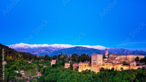 Famous Alhambra in sunset in Granada, Spain