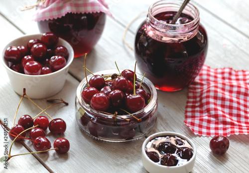 Foto Murales homemade strawberry jam in a jar