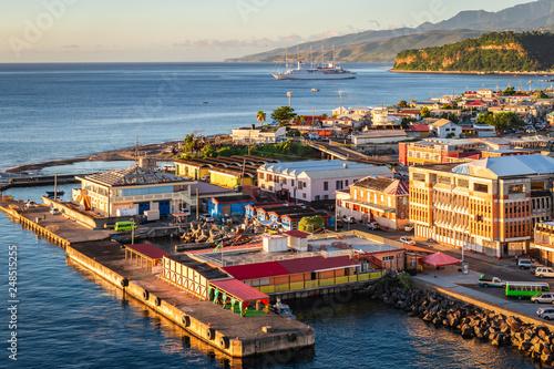 Leinwanddruck Bild Dominica cruise port terminal.