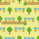 Yellow City Bus Seamless Pattern - 248515409