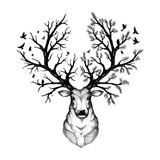 vector illustration of a head deer with forest background