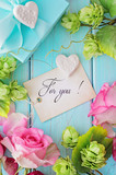floral frame and gift tag