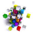 Flying multicolored metallic cubes