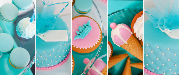 Blue summer time theme for party or birthday. Collage of five pictures of sweets, cupcakes, pop cakes © Lena May