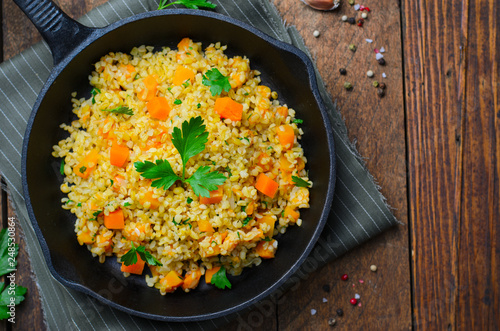 Bulgur with Pumpkin, Healthy Dinner, Vegetarian Food - 248530864