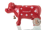 Switzerland piggy bank cow with bit coins
