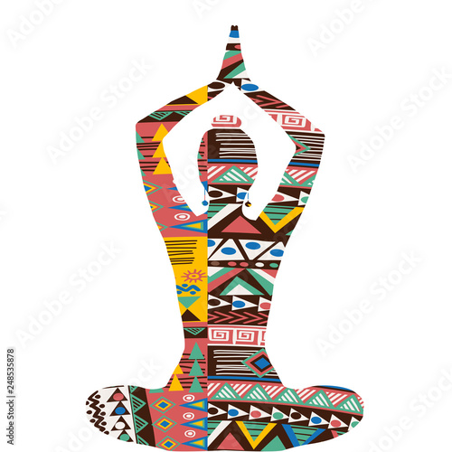 Silhouette of yoga woman with ethnic decorative pattern