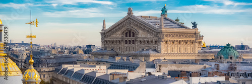 Paris, view of the Opera and typical parisian roofs, panorama - 248538479