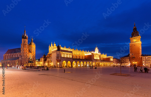 Krakow, View of the old city after sunset