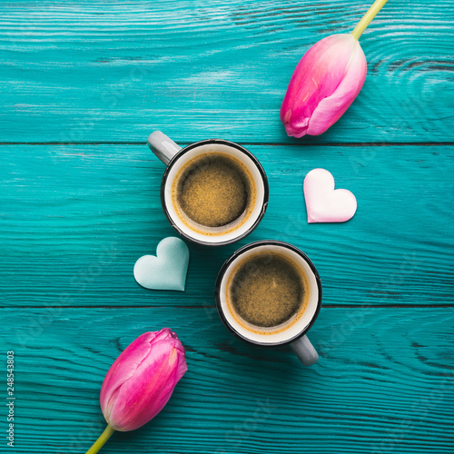 Two coffee cups, hearts and flowers. Valentine day © tenkende