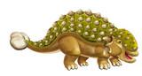 cartoon dinosaur euoplocephalus - isolated on white background - illustration for children