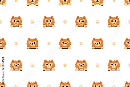 fototapeta na ścianę Vector cartoon character pomeranian dog seamless pattern background for design.