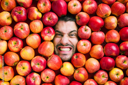 obraz lub plakat Mann mit Äpfeln , Konzept für Lebensmittelindustrie. Gesicht von lachenden mann in Apfel Fläche.