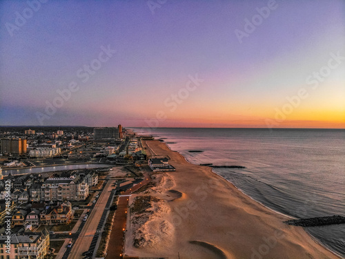 Asbury Park New Jersey Boardwalk Sunrise Aerial Photo