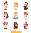 Cheerful people avatar collection. User faces. Trendy modern style. Flat Cartoon Character design